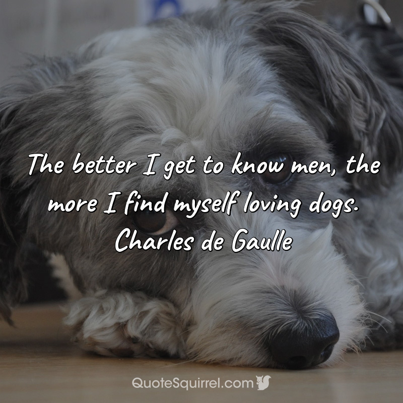 The better I get to know men, the more I find myself loving dogs