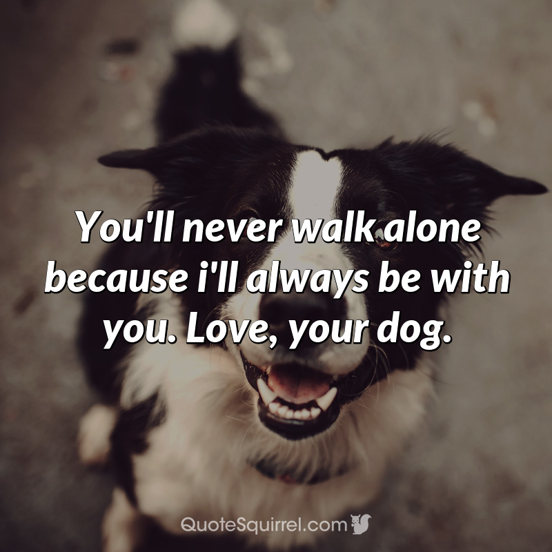 You'll never walk alone because i'll always be with you. Love, your dog